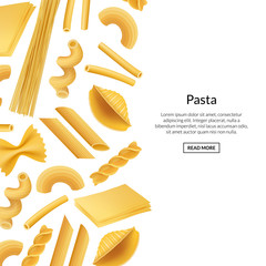 Vector banner realistic pasta types background illustration. Poster macaroni with place for text