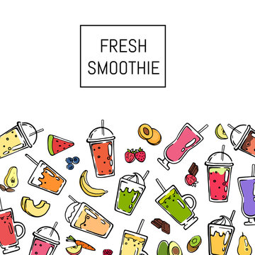 Vector doodle fresh smoothie drink background illustration. Banner with place for text