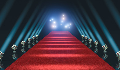 red carpet and lights