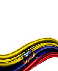 Ecuador flag on cloth isolated on white background