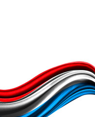 Luxembourg flag on cloth isolated on white background