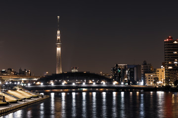 (東京都ー都市風景)新川から望む墨田方面の夜景7
