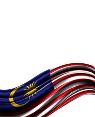 Malasia flag on cloth isolated on white background