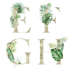 Lime Gold Tropical Floral Alphabet Set - letters E, F, G, H with flowers bouquet composition. Unique collection for wedding invites decoration & other concept ideas.