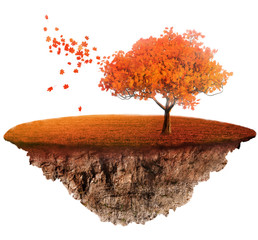 a fantasy autumn landscape with floating island with tree and grass