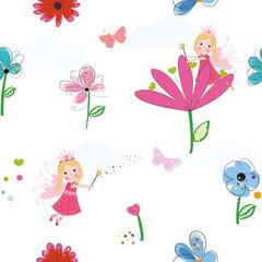Summer flowers, butterflies and fairy pattern wallpaper