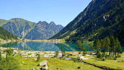 Picturesque summer landscape by the Gaube lake in Pyrenees mountain,France.