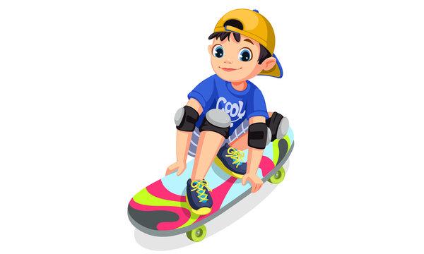 Cute boy on skateboard making stunt