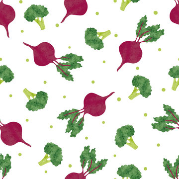 Seamless watercolor vegetables pattern with broccoli and beet. Vector background