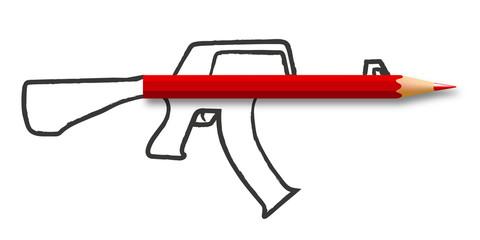 Concept de la liberté de la presse et de l'information avec un crayon qui forme le canon d'un fusil, dessiné sur un fond blanc