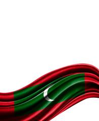 Maldives flag on cloth isolated on white background