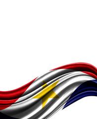 Saba flag on cloth isolated on white background