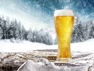 Tuinposter Bier / Cider Winter beer on stone and snow decoration