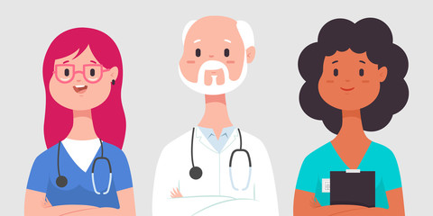 Medical team with doctor, nurse and intern. Vector cartoon man and woman character isolated on background.
