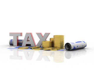 3d rendering Dollar symbol with tax