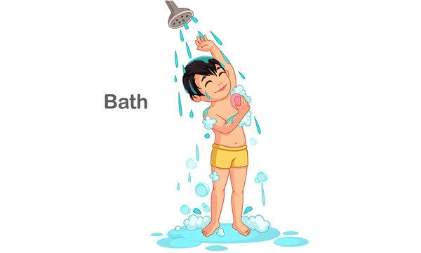 Cute boy taking a bath
