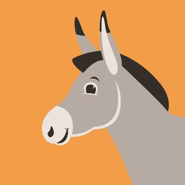 cartoon donkey head, vector illustration ,flat style,profile