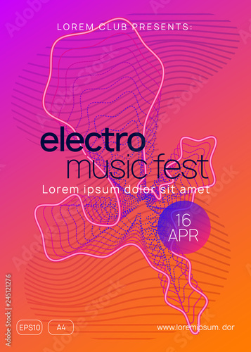 Neon club flyer  Electro dance music  Trance party dj  Electronic