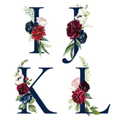 Floral Alphabet Set - navy letters I, J, K, L with flowers bouquet composition. Unique collection for wedding invites decoration and many other concept ideas.