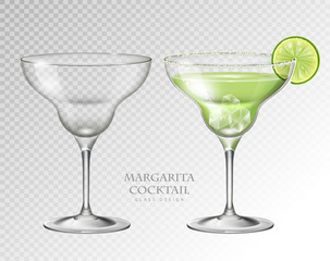 Realistic cocktail margarita vector illustration on transparent background. Full and empty glass