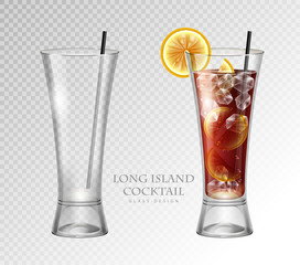 Realistic cocktail long island ice tea vector illustration on transparent background. Full and empty glass