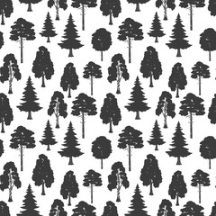 Scandinavian style vector forest seamless pattern. Illustration of silhouette black tree background