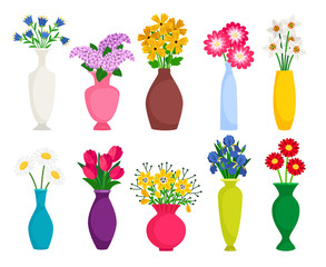 Obraz Set of colored vases with blooming flowers for decoration and interior. Chamomile, tulip, poppy and lilac. Vector illustration - fototapety do salonu