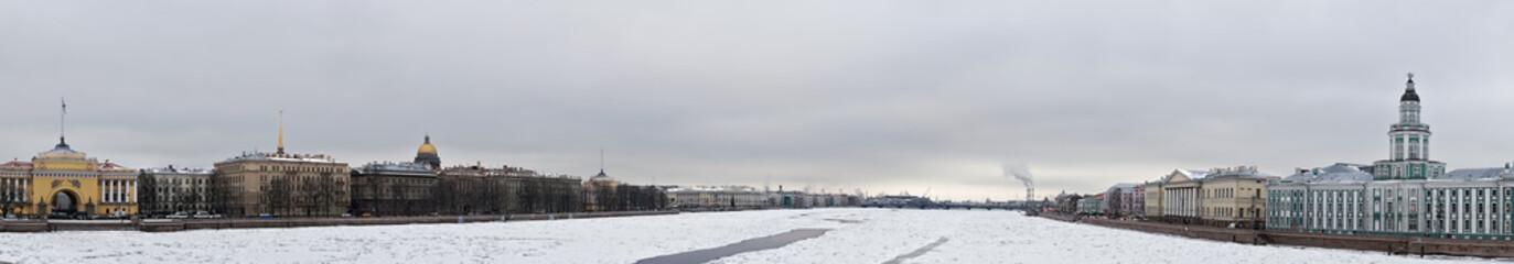 Ice on Neva river panorama