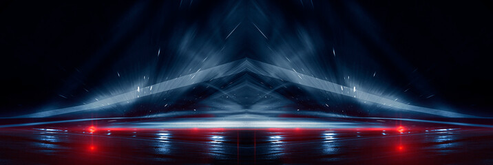 Wall Mural - Background wall with neon lines and rays. Background of an empty dark corridor, parking, airport with neon light. Abstract background with lines and glow. Wet asphalt, the reflection of neon lights in