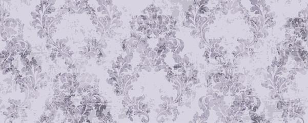 Rococo pattern texture Vector. Floral ornament decoration. Royal ements. Victorian engraved retro design. Vintage fabric decor. purple colors