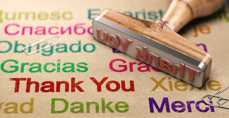 Multilingual Message Of Thanks, Using English, German, Spanish and French Languages