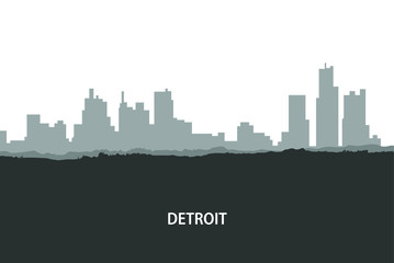 Detroit, USA skyline. City silhouette with skyscraper buildings, with famous American landmarks. Urban architectural landscape. - Vector