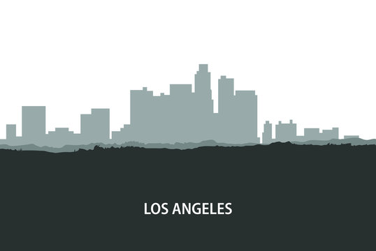 Los Angeles, USA skyline. City silhouette with skyscraper buildings, with famous American landmarks. Urban architectural landscape. - Vector