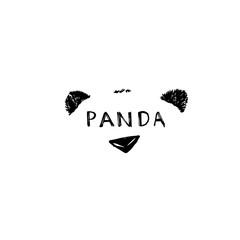 Hand drawn panda. Vector illustration isolated on white. Panda Logo Design Inspiration.