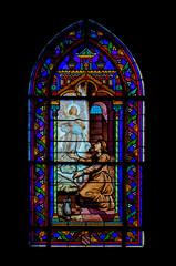 Le Crotoy - Glas in lood raam in de kerk van Saint Pierre - Somme. Picardië. Top van Frankrijk