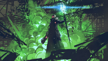 sci-fi character in black cloak with light spear standing against green explosion, digital art style, illustration painting Wall mural