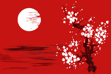 Japan Traditional japanese painting Sumi-e art Sakura