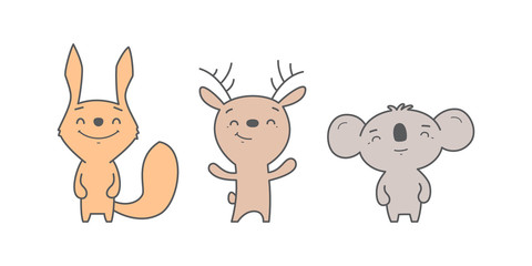 Kawaii illustration of squirrel, deer and koala on white background