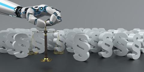 Roboter Hand mit einen kleinen Balkenwaage im Hintergrund weiße Paragrafen