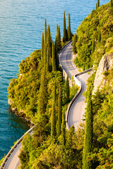 Fototapete - Scenic road around Garda Lake, Lombardy, Italy