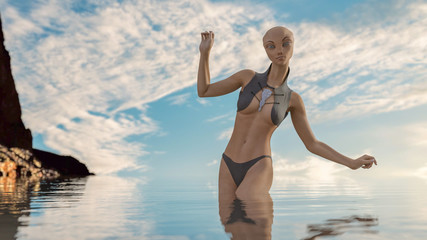 Sexy alien in the water with space bikini 3d render