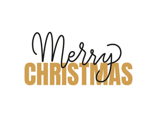 Merry Christmas Inscription, Winter Lettering Sign