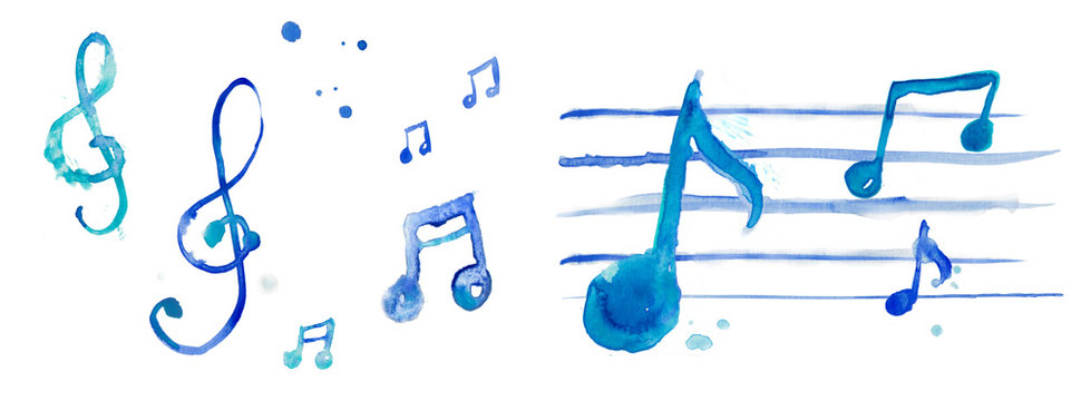 Treble key, treble clef illustration watercolor blue note, range, music