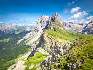 Elevated view, from the top of Seceda mountain, of the Odle Mountains, Puez Odle Natural Park, Trentino Alto Adige, Italy
