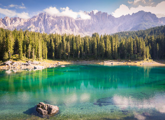 Carezza lake and Latemar mountain, Bolzano province, South Tyrol, Italy Wall mural