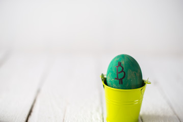 Egg with logo bitcoin in a small bucket