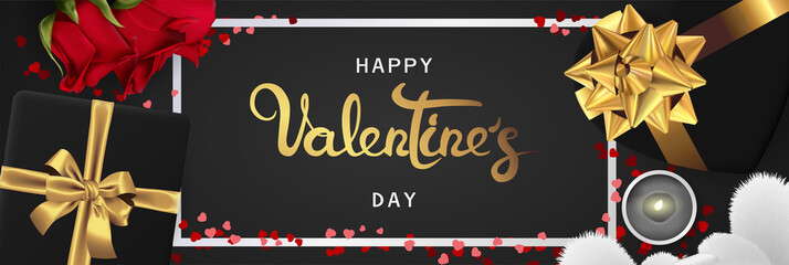 Happy valentines day realistic horizontal banner flat lay top view