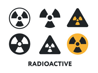 Radioactive Warning Sign. Nuclear Radiation Danger. Vector Flat Line Stroke Icon.