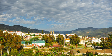 Panoramic view of Órgiva, village of the famous region of the Alpujarras in the province of Granada, Andalusia, Spain