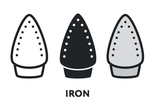 Iron Surface. Clothing Ironing Steam Heat Press. Vector Flat Line Stroke Icon.